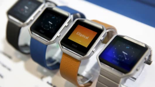 Fitbit Blaze watches are displayed during the 2016 CES trade show in Las Vegas, Nevada January 6, 2016.