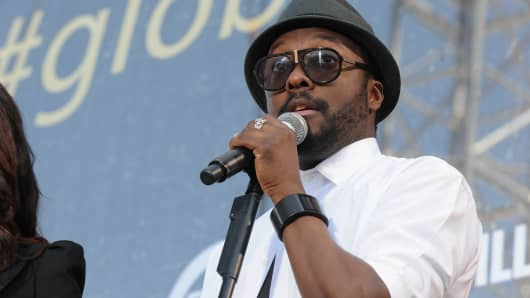 Rapper Will i Am speaks onstage during Global Citizen 2015 Earth Day on National Mall to end extreme poverty and solve climate change on April 18, 2015 in Washington, DC.