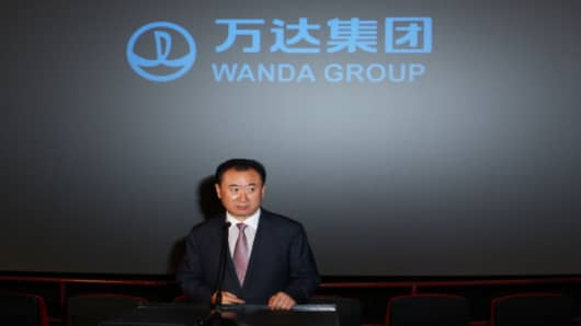 LOS ANGELES, CA - SEPTEMBER 04: Board Chairman and President of Dalian Wanda Group Co., Ltd, Wang Jianlin, speaks at the Wanda and AMC press conference at AMC 15 Theatres on September 4, 2012 in Los Angeles, California.