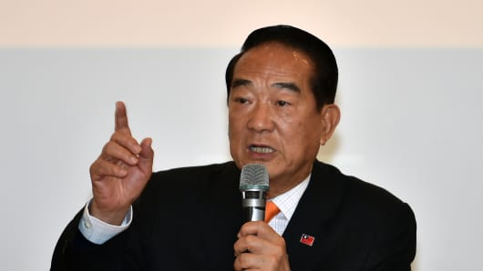 James Soong, presidential candidate from the People First Party (PFP), gestures during a press conference in Taipei on January 12, 2016.