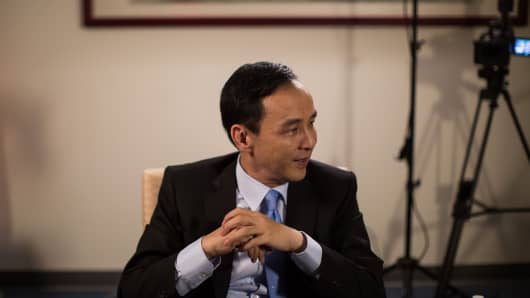 Eric Chu, presidential candidate and chairman of Taiwan's ruling party Kuomintang, listens during an interview at the party's headquarters in Taipei, Taiwan, on Friday, Dec. 11, 2015.