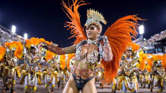 Members of Unidos da Tijuca Samba School during their parade at 2014 Brazilian Carnival at Sapucai Sambadrome on March 03, 2014 in Rio de Janeiro, Brazil.