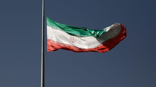 Iranian flag in Tehran, Iran