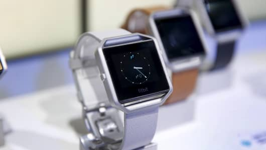 Fitbit Blaze watches are displayed during the 2016 CES trade show in Las Vegas, January 6, 2016.