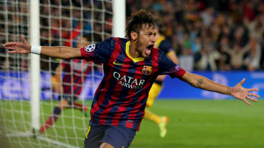 Neymar of Barcelona celebrates his goal during the UEFA Champions League Quarter Final first leg match.