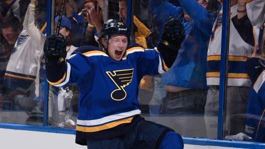St. Louis Blues Vladimir Tarasenko celebrates after scoring against the Minnesota Wild.