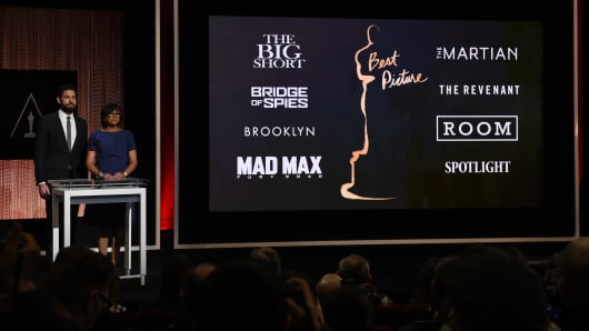 A screen showing the Oscar nominees for Best Picture as announced by actor John Krasinski and Academy President Cheryl Boone Isaacs during the Academy Awards Nominations Announcement at the Samuel Goldwyn Theater in Beverly Hills, California on January 14, 2016.