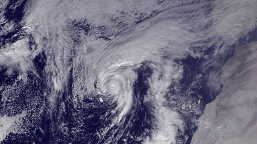 In this handout from the National Oceanic and Atmospheric Administration (NOAA), Hurricane Alex is seen in the Atlantic after being upgraded from a storm on January 14, 2016.