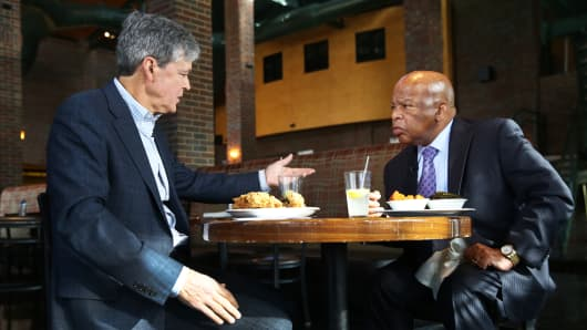 John Harwood interviewing John Lewis in Paschal's Restaurant, Atlanta, GA on January 14, 2016.