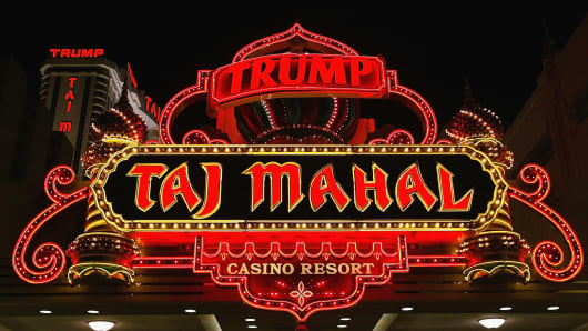A sign marks the Trump Taj Mahal Hotel and Casino in Atlantic City, New Jersey.