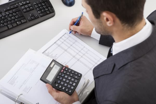 accountant working with financial data