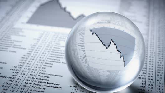 Crystal ball, descending line graph and share prices