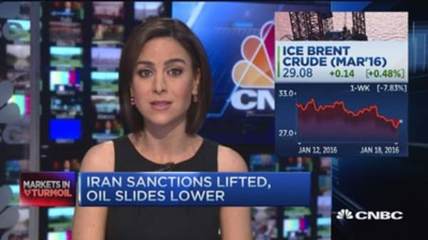 Oil prices slide lower as Iran sanctions lifted