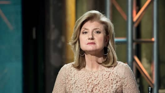 Arianna Huffington attends the AOL BUILD Speaker Series in New York on June 15, 2015 in New York City.