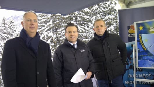 Kirill Dmitriev on set with CNBC's Steve Sedgwick and Geoff Cutmore at Davos, Switzerland in 2016.