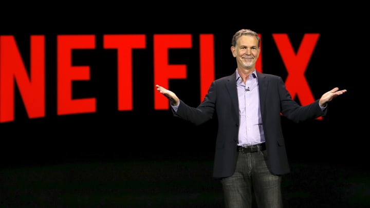 Reed Hastings, co-founder and CEO of Netflix, delivers a keynote address at the 2016 CES trade show in Las Vegas, January 6, 2016.