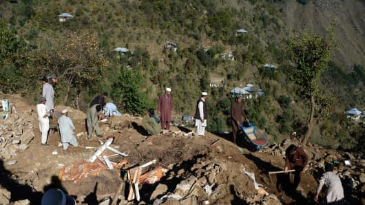 Pakistan's Khyber Pakhtunkhwa province on October 29, 2015 after a major earthquake.