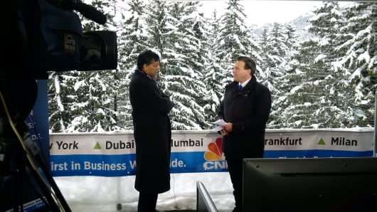 Raghuram Rajan with CNBC's Geoff Cutmore in Davos, Switzerland.