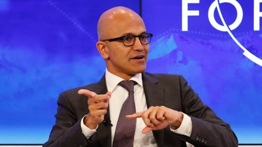 Satya Nadella speaking at the 2016 World Economic Forum in Davos, Switzerland.