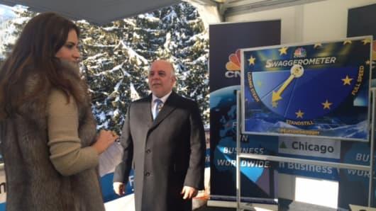 Haider Al-Abadi on set in Davos, Switzerland with Hadley Gamble.
