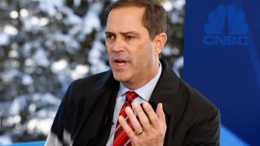 Chuck Robbins being interviewed in Davos, Switzerland, January 21, 2016.