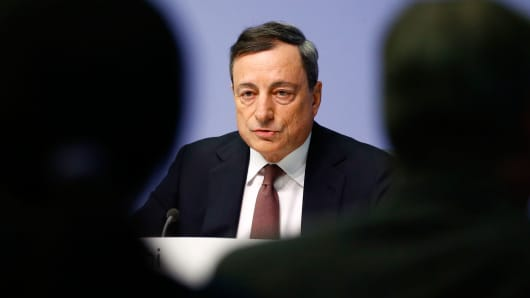 The European Central Bank President Mario Draghi addresses a news conference at the ECB headquarters in Frankfurt, Germany, January 21, 2016.