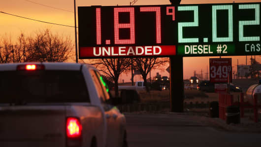 The price of gas is advertised at a fuel station in the Permian Basin oil field on Jan. 20, 2016, in the oil town of Andrews, Texas.