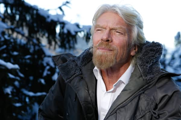 Richard Branson at the 2016 World Economic Forum in Davos, Switzerland.