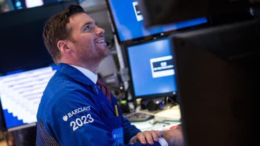 Trader working on the floor of the New York Stock Exchange