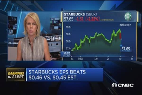 Starbucks shares fall on disappointing sales