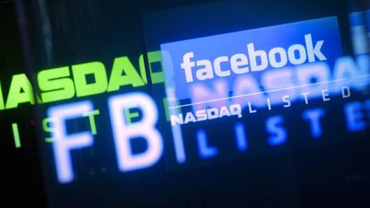 The Facebook Inc. logo is displayed at the Nasdaq MarketSite in New York.