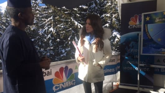 Yemi Osinbajo with CNBC's Julia Chatterley in Davos, Switzerland.