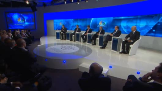CNBC's panel on Europe's financial future with Geoff Cutmore, Francisco González, Lord Jonathan Hill, Pier Carlo Padoan, Benoît Coeuré and Axel A. Weber.
