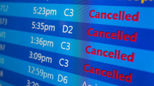 Cancelled flights winter storm