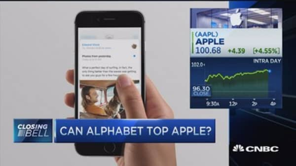 Google parent Alphabet to take over Apple in market cap lead?
