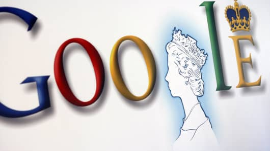 A poster with an image of Britain's Queen Elizabeth II incorporated into the Google's logo is pictured at the company UK headquarters, in London.