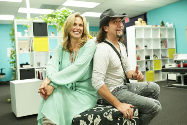 Poo~Pourri founder Suzy Batiz with her husband Hector Batiz at Poo~Pourri headquarters in Addison, Texas.