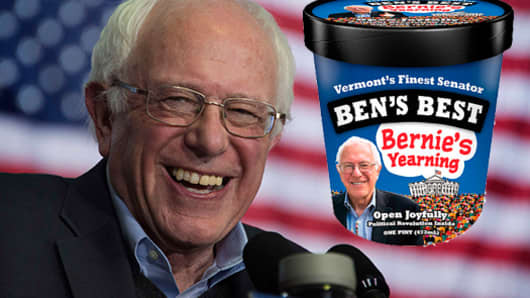Ben & Jerry's founder unveils new 'Bernie's Yearning' ice cream flavor.