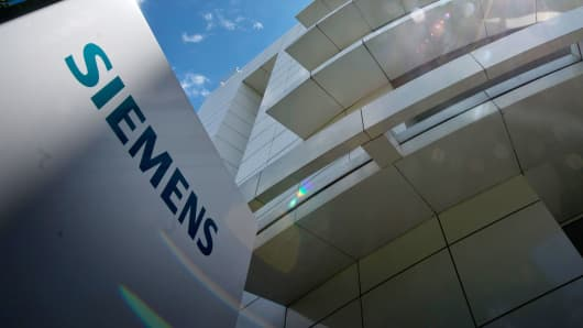 Exterior view of the Siemens Forum, part of the Siemens Headquarters, in Munich, Germany.