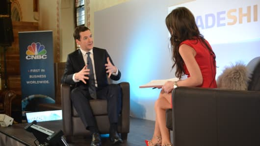 George Osborne with CNBC's Julia Chatterley in Davos, Switzerland in January 2016.