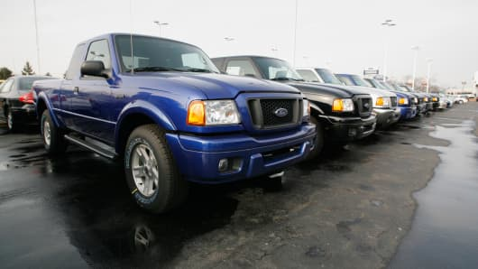 Ford Ranger pickup trucks are seen at a dealership in Detroit, January 20, 2006.