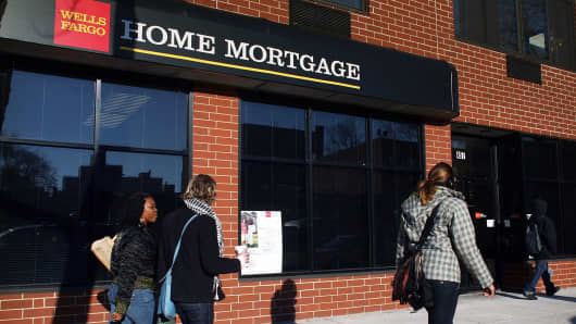 A home mortgage sign on a Wells Fargo branch in Brooklyn, New York.