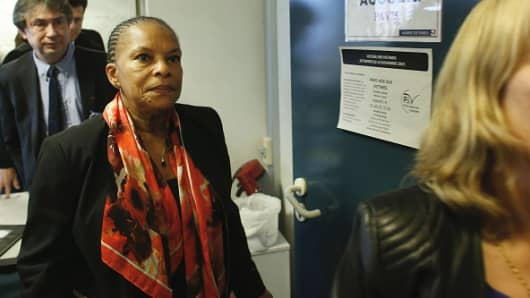 French Justice minister Christiane Taubira visits a terrorism victims assistance centre on January 21, 2016 in Paris.