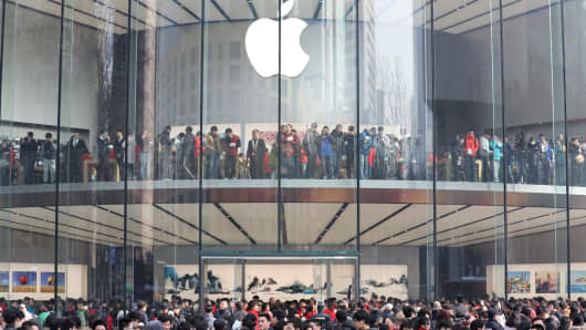 The newly opened Apple Store in Nanjing, Jiangsu Province of China