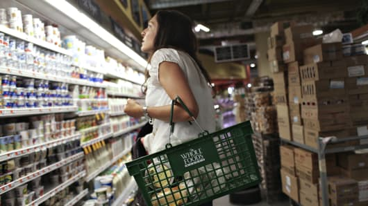 A woman shops at Whole Foods in New York.