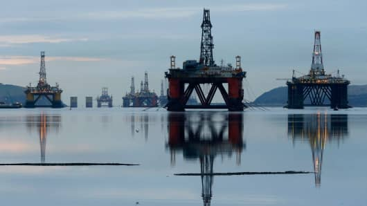 Drilling rigs in the Cromarty Firth near Invergordon, Scotland, Britain.