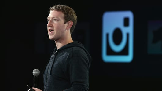 Facebook CEO Mark Zuckerberg speaks about Instagram during a press event at Facebook headquarters.