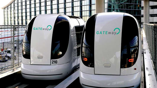 The new driverless vehicles will be similar to the shuttles found at London's Heathrow Airport, currently operating at Terminal 5.