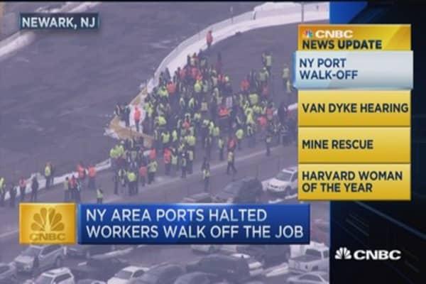 CNBC update: New York ports shut down after surprise walkout