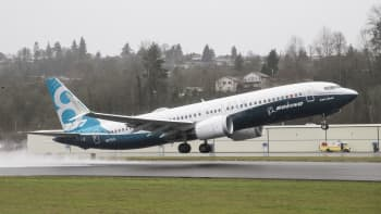 A Boeing 737 MAX 8 airliner lifts off for its first flight on January 29, 2016 in Renton, Washington.